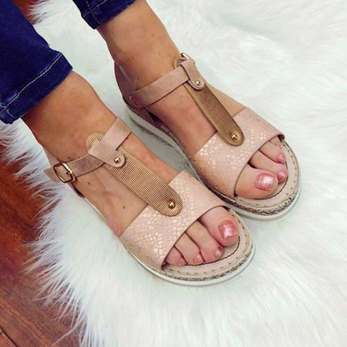 Women Casual Color Block Buckle Pu Flat Heel Summer Sandals