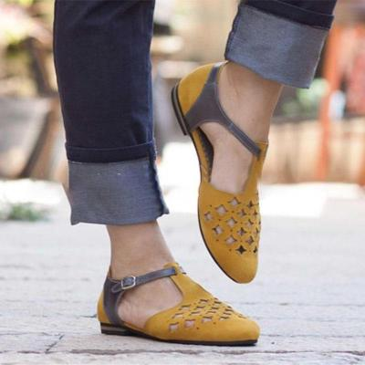 Women Hollow-Out Sandals Low Heel PU Flat Shoes