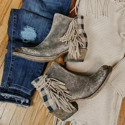 Leather Ankle Boots Vintage Fringe Comfortable Heel Boots Plaid Zipper