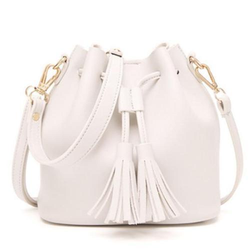 Vintage Tassel Bucket Bag Mini PU Leather Crossbody Bag