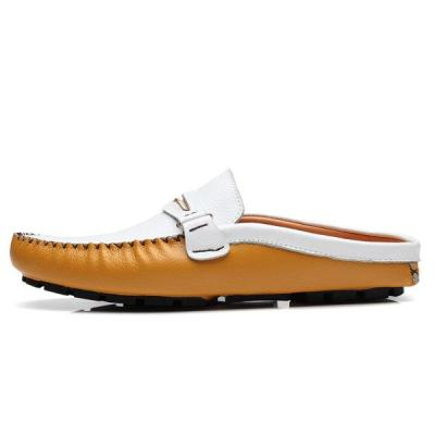 Mens British Style Color Block Slip On Casual Backless Loafers
