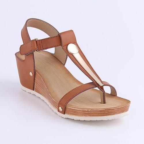 Summer Clip Toe Wedge Heel Casual T-Bar Sandals