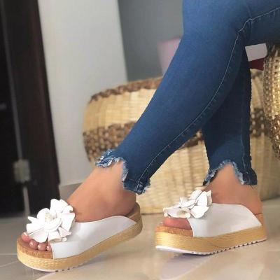 Flower Espadrille Sandals Slip-On Peep Toe Women Platforms