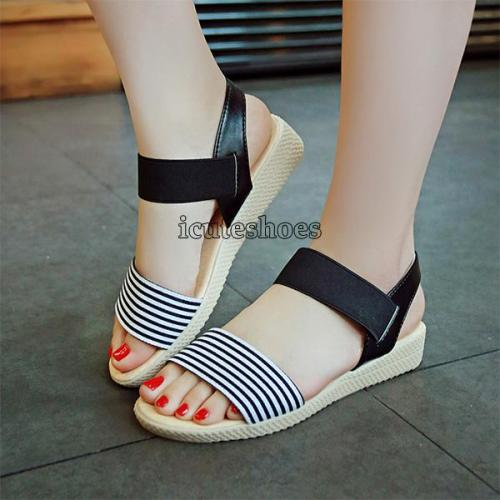 Sandals Female Stripe Flat Heel Comfort Anti Skidding Beach Shoes Sandals Slipper