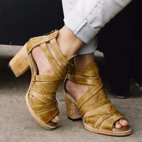 Platform Open Toe Vintage Buckle Strap Heel Peep Toe Chunky Heel Shoes