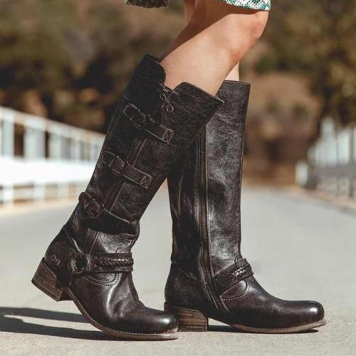 Vintage Women Buckle Low-heel Boots