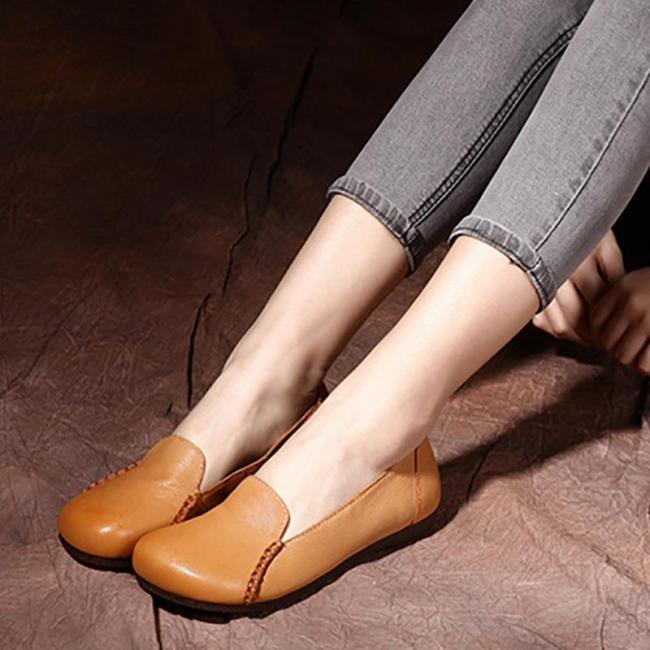 Handmade Sheep Leather Casual Flat Shoes For Women