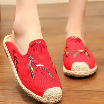 New Embroidered Leaf Wrapped Sandals Women Woven Shoes Flat Half Drag Muller's Shoes