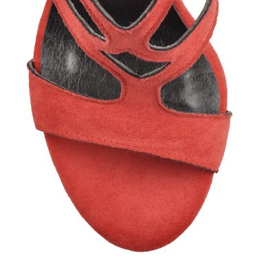 Open Toe Gladiator Red Suede High Heels Boots Sandals