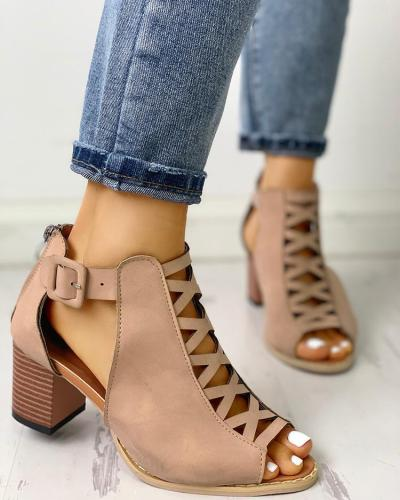 Lace-Up Hollow Out Peep Toe Ankle Boots