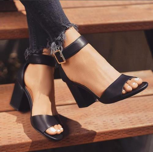 Women's PU Round Toe Adjustable Buckle High Chunky Heel Sandals