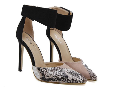 Color Matching Hollow Stiletto Heels Pointed Shoes