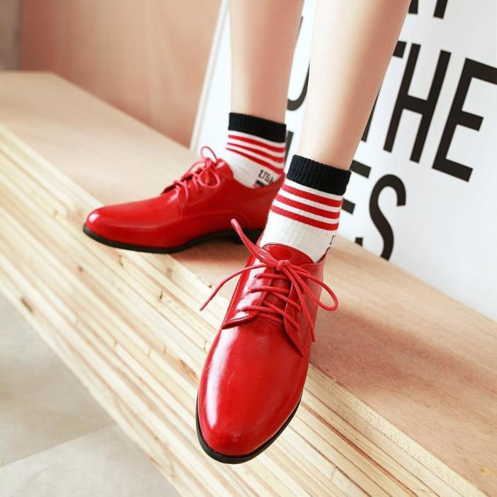 Reflective Pu Low Heels Lace-Up Boots