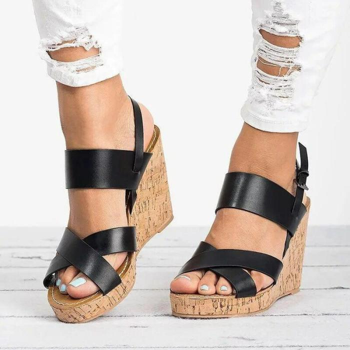 Women Artifical Leather High Wedges Sandals