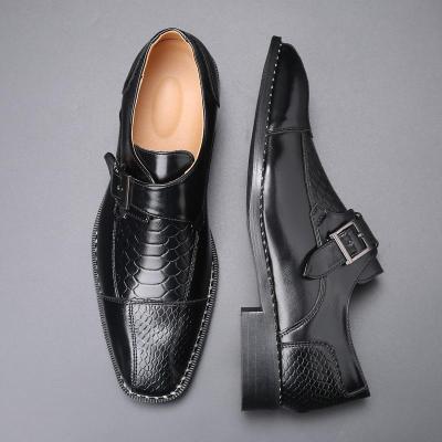 Vintage Square Toe Men Leather Shoes Business Suit Formal Dress Flats Loafers