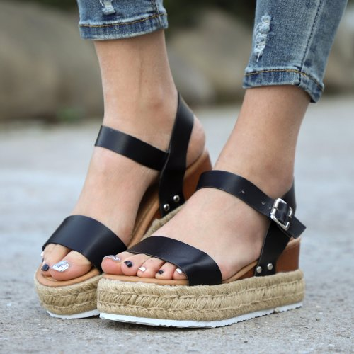Women's PU Rivet Peep Toe Adjustable Buckle Wedge High Sandals