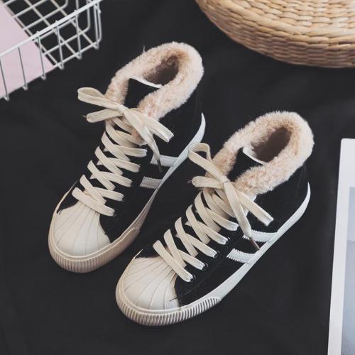 Womens Faux-fur Warm Flat Ankle Sneakers