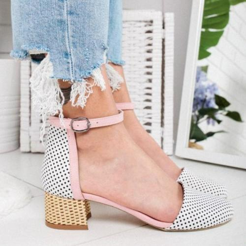Summer Round Toe Casual Buckle Strap Rome Shoes