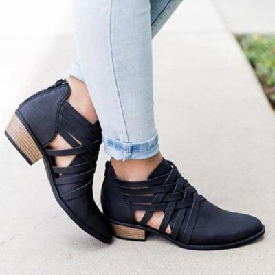 Women Low Heel Casual Hollow-out Ankle Round Toe Boot