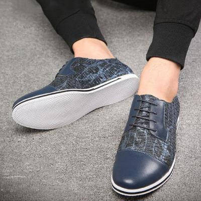 Mens Large Size Round Toe Color Blocking Lace Up Casual Flats