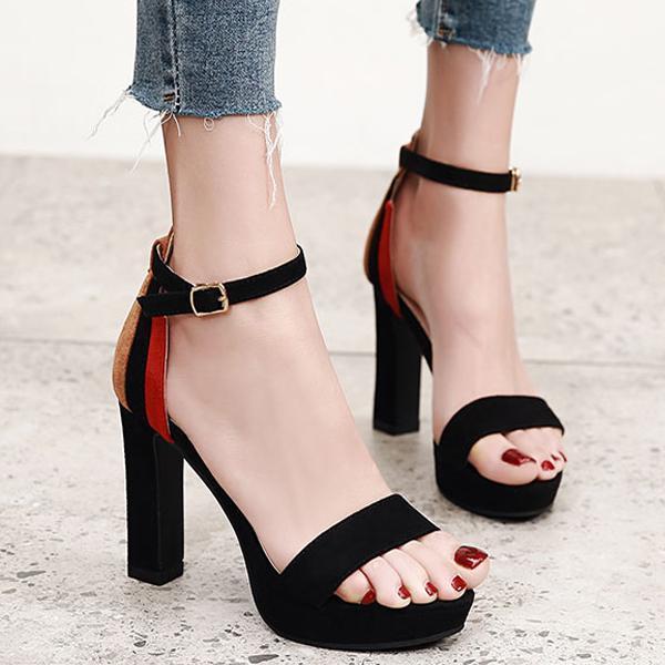 Color Matching Suede Waterproof Platform Thick High Heel Sandals for Women