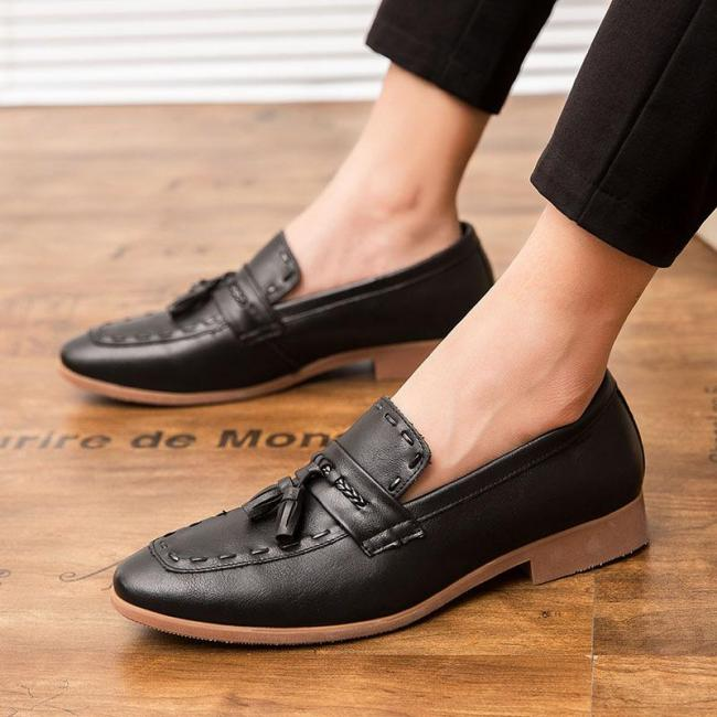 Fringed Casual Pointed Foot Leather Shoes