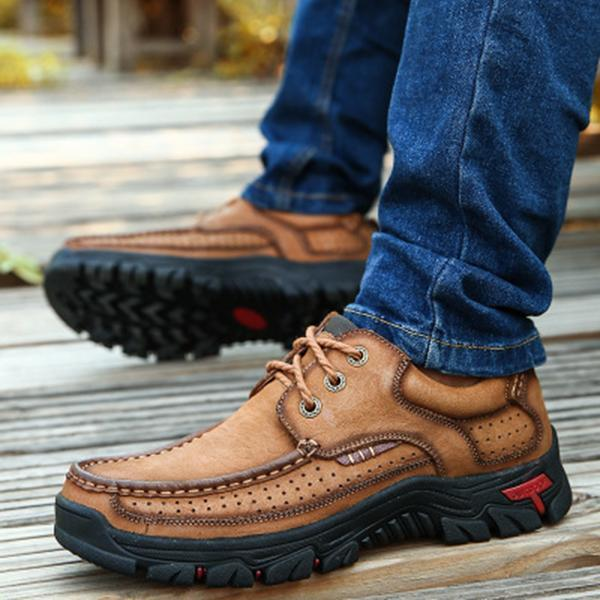 Men Casual Outdoor Lace-up Genuine Leather Oxfords