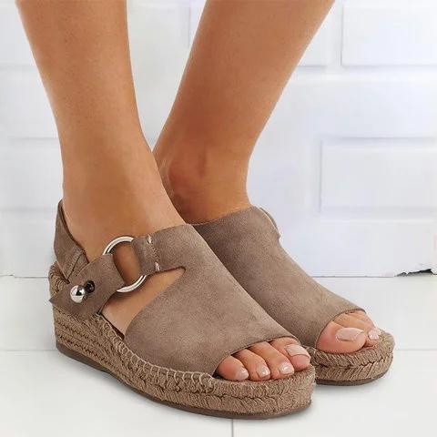 Women Arc Suede Espadrille Wedge Sandals