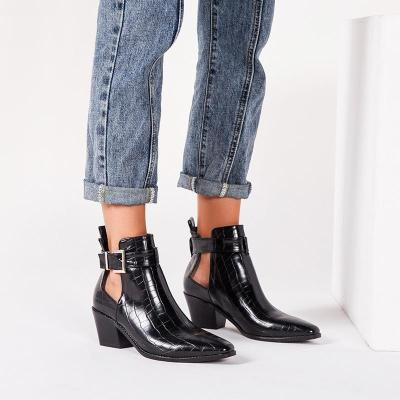 Women's fashion solid color buckle ankle boots