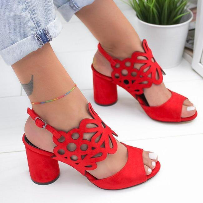 Women Hollow-Out Peep Toe Slingback Chunky Heels Sandals