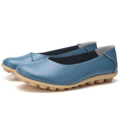 Non-slip Rubber Buttom Girl Shoes Cow Leather Women Loafers   127965