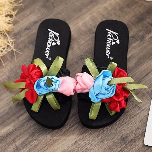 Slip-on Open Toe Wedges Heel Causal Flower Slipper Slides Shoes