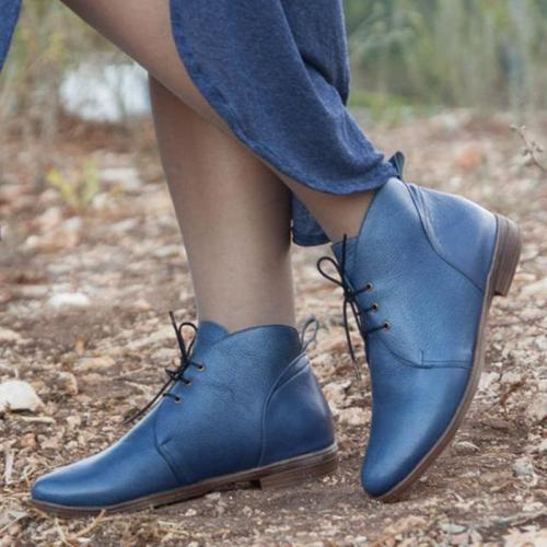 Blue Pure Pu Lace-Up Flats Ankle Booties