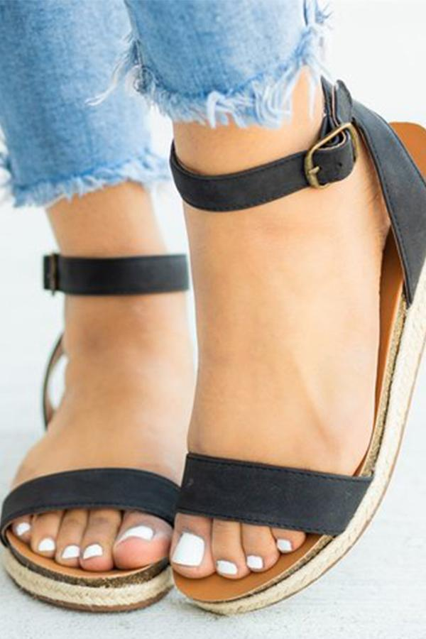 Plain Flat Peep Toe Casual  Wedge Sandals