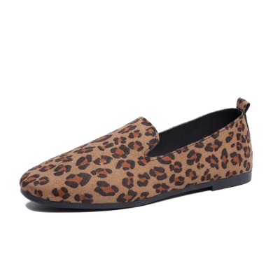 Shallow mouth leopard flat shoes