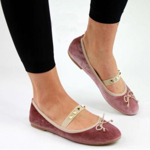 Girly Style Velvet Rivet Bowknot Flat Slip-On Loafers