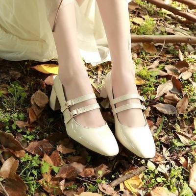 Women's Sweet Style Double Buckle Strap Chunky  Heels