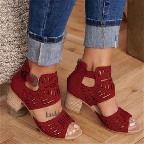 Hollow Out Sandals Mid Heel Summer Slip-on Buckle Ladies Shoes Artificial Open Toe