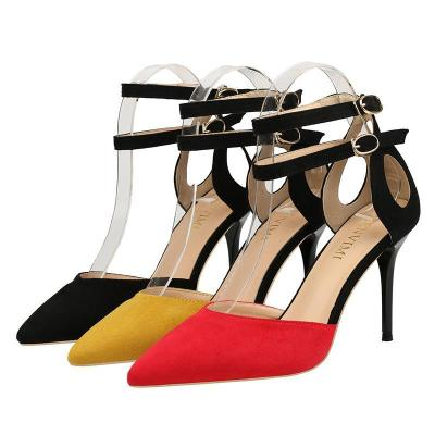 Color Block Stiletto Heel Suede Sandals