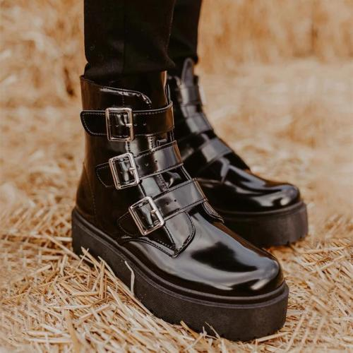 Women's fashion platform buckle Martin boots