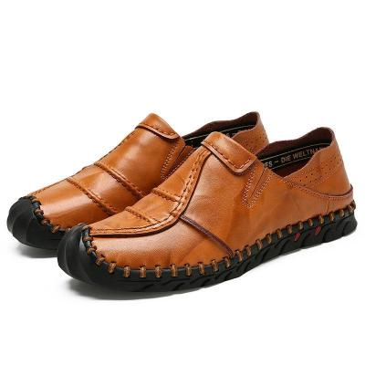 Mens Hand Stitching Anti-collision Toe Soft Slip On Flat Shoes