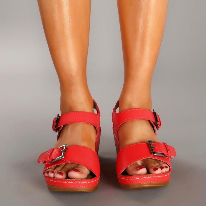 Metal Buckle Lightweight Comfortable Wedges Sandals