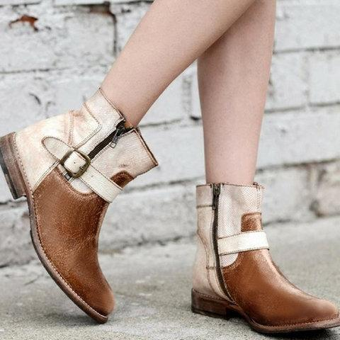 Women Casual Low Heel Zipper Boots