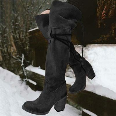 Women Vintage Knee High Lace Up Zipper Boots Plus Size Warm Snow Boots