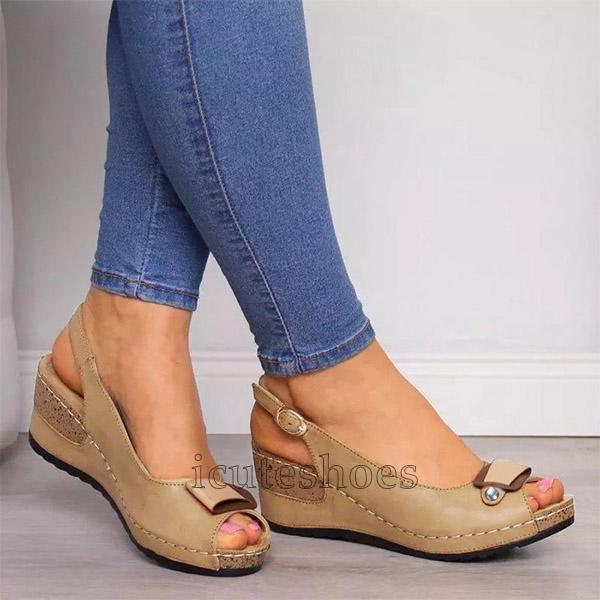 Wedges Sandals Pumps Ankle Buckle Open Toe Fish Mouth Med Summer Women