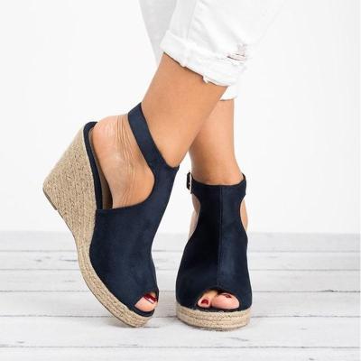 Peep Toe Suede Blocking Hook-Loop Wedge Sandals