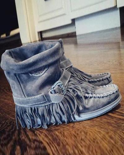 Mid-Calf Flat Heel Tassel Boots