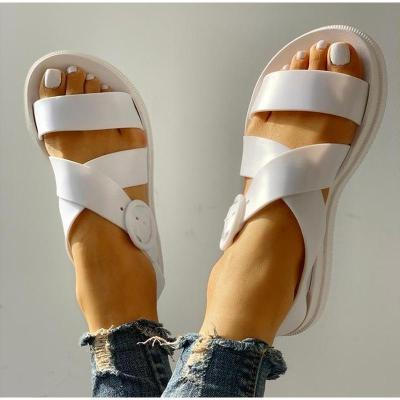 Open Toe Buckle Soft Jelly Sandals Female Casual Women's Flat