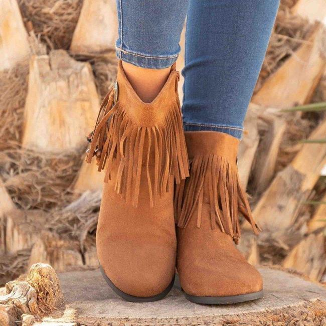Fringe Low Heel Faux Suede Feather Tassel Ankle Boots
