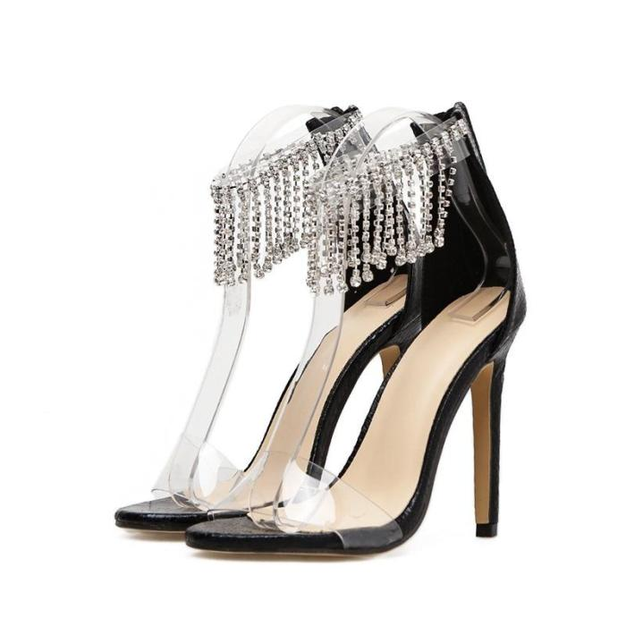 2020 Cross Border Women's Shoes Spring and Summer New Rhinestone Transparent Mouth Thin Heel High Heels
